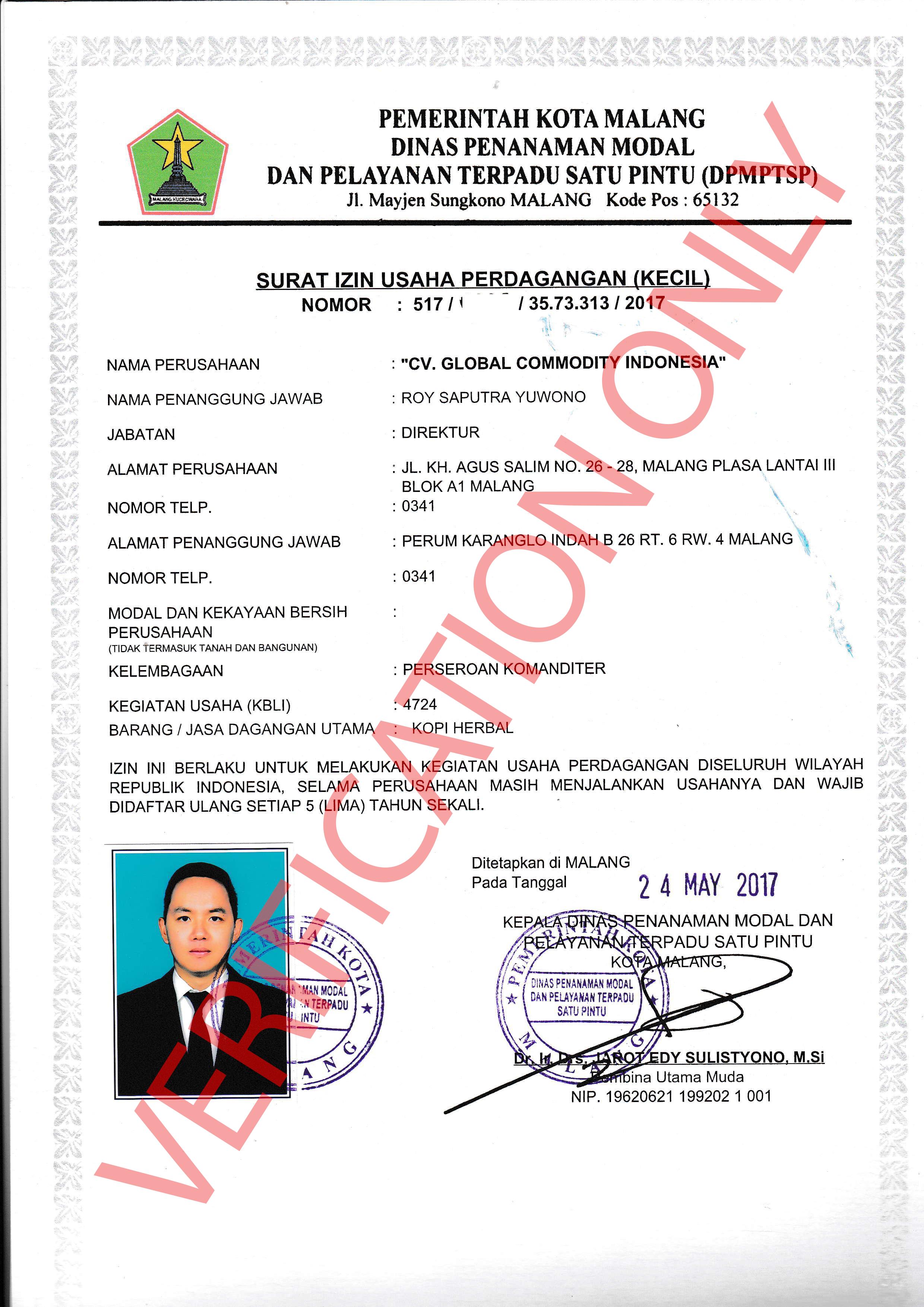 SIUPK (Surat Izin Usaha Perdagangan Kecil) - Shelton Indonesia Group - Food & Drinks & Hospitality Company