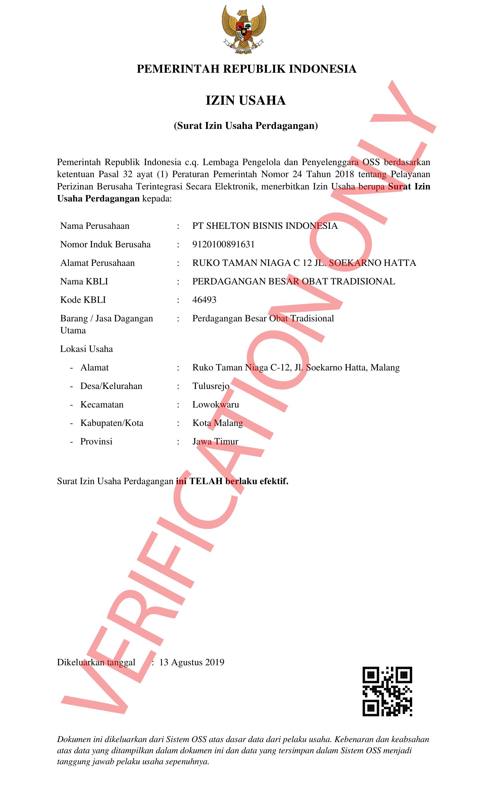 SIUP (Surat Izin Usaha Perdagangan) - Shelton Indonesia Group - Food & Drinks & Hospitality Company